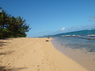 Beautiful beach in Kauai where Luana Aloha Massage and Facials is located.